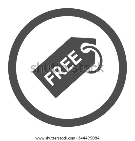 Free Tag vector icon. Style is flat rounded symbol, gray color, rounded angles, white background. - stock vector