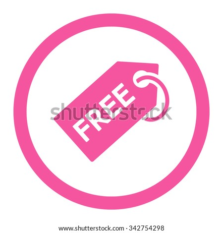 Free Tag vector icon. Style is flat rounded symbol, pink color, rounded angles, white background. - stock vector