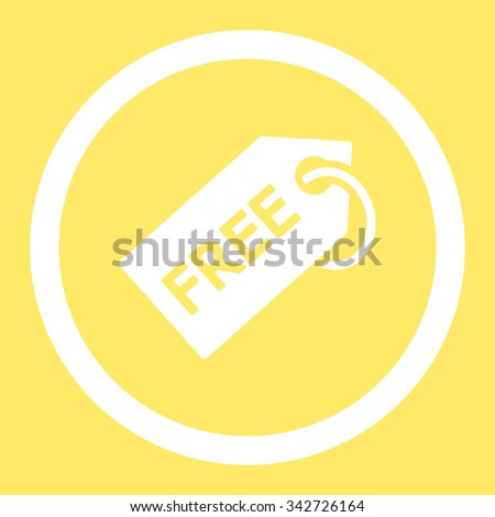 Free Tag vector icon. Style is flat rounded symbol, white color, rounded angles, yellow background. - stock vector