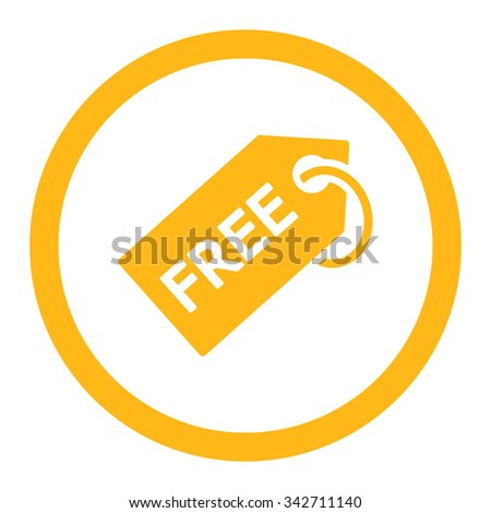 Free Tag vector icon. Style is flat rounded symbol, yellow color, rounded angles, white background. - stock vector