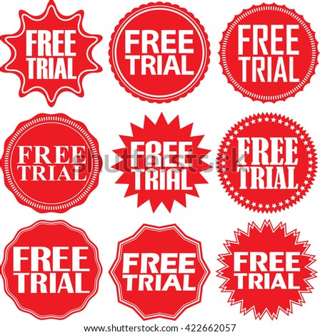 Free trial red label. Free tria red sign. Free tria red banner. Vector illustration