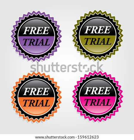Free trial signs, labels, sticker, icons, and symbol. Vector.