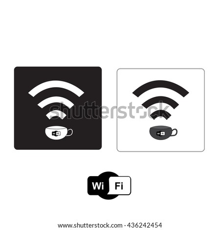 Free Wi Fi zone icon: cup with wireless signal in coffee shop, Vector illustration. - stock vector