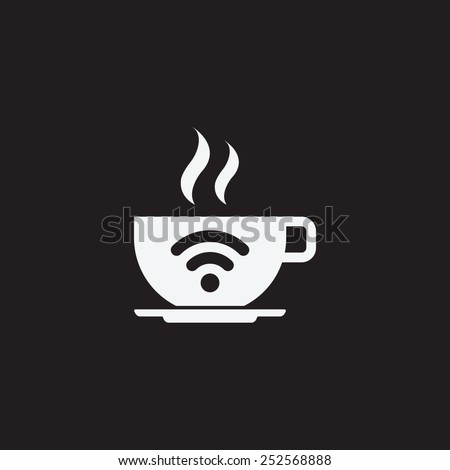 Free Wi-Fi zone vector icon. Cup with wireless signal. - stock vector