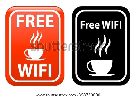 free WiFi and coffe area information sign isolated on white background - stock vector