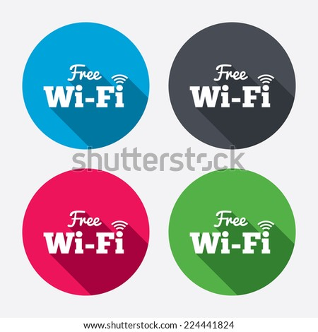 Free wifi sign. Wifi symbol. Wireless Network icon. Wifi zone. Circle buttons with long shadow. 4 icons set. Vector - stock vector