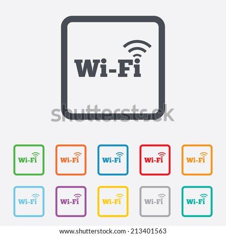 wireless network icon wifi zone round squares - Wireless Photo Frame
