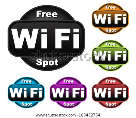 Free Wifi Symbols - stock vector