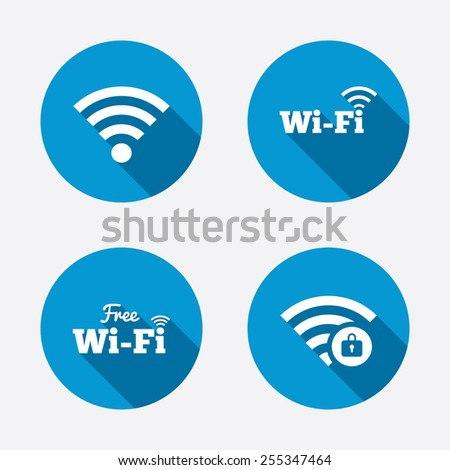 Free Wifi Wireless Network icons. Wi-fi zone locked symbols. Password protected Wi-fi sign. Circle concept web buttons. Vector - stock vector