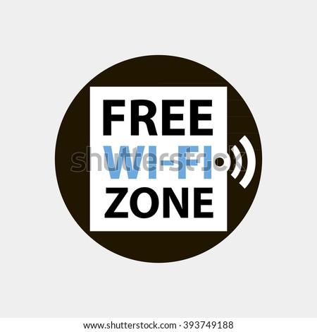 Free wifi zone concept circle logo or icon - stock vector