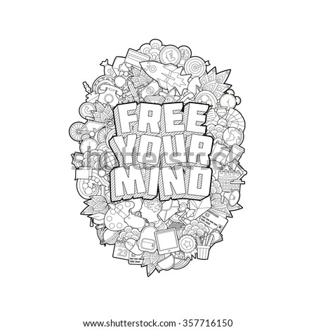 Free Your Mind Hand Lettering Doodles Stock Vector 357716150