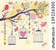 Freedom concept card. Birds out of cages. Romantic floral background in bright colors - stock vector