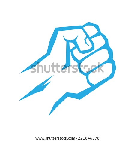 freedom concept. vector blue fist icon on white. - stock vector
