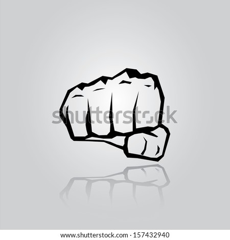 freedom concept. vector fist icon. fist silhouette on stylish grey background. - stock vector