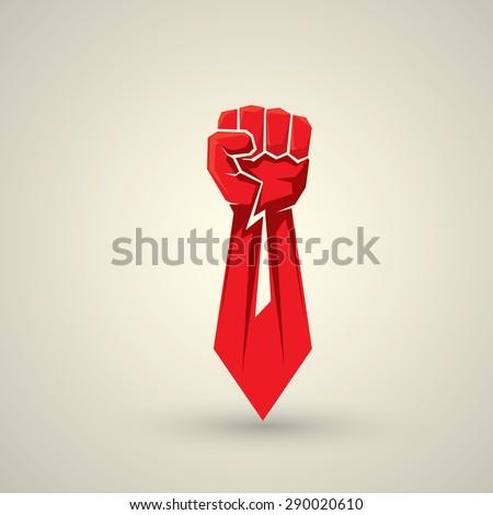 freedom concept. vector red fist icon. revolution fist - stock vector