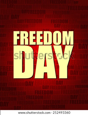 Freedom Day with same text on red gradient background.