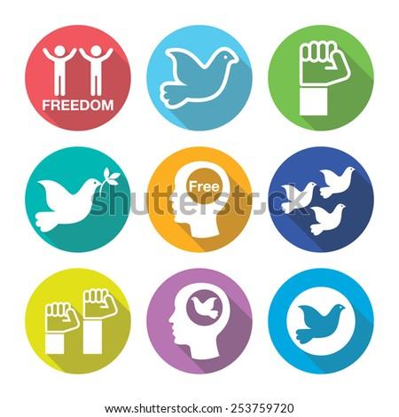 Freedom flat deign round icons set - dove and fist symbols - stock vector