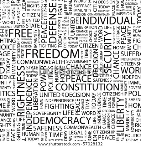FREEDOM. Seamless vector pattern with word cloud. Illustration with different association terms.