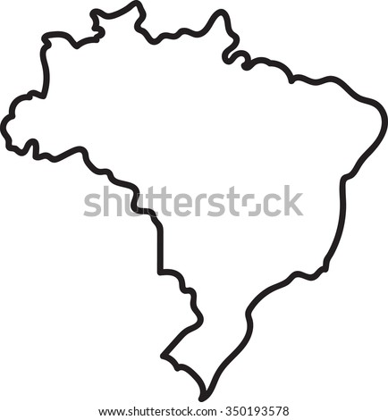 Freehand Brazil map sketch on white background - stock vector