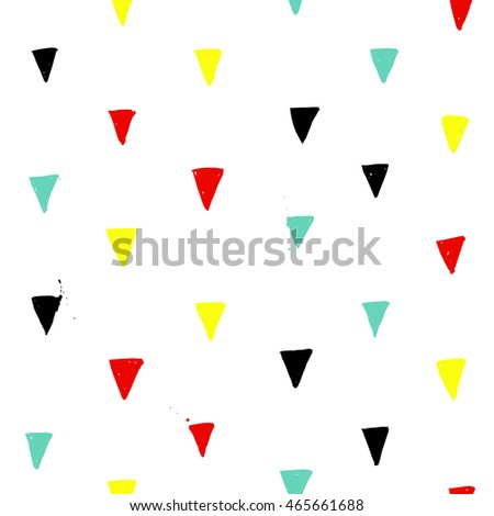 freehand brush colorful ink simple minimalistic modern triangle ...