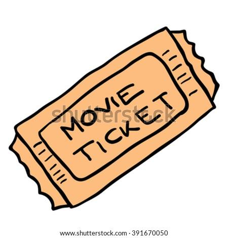 freehand cartoon illustration movie ticket - stock vector