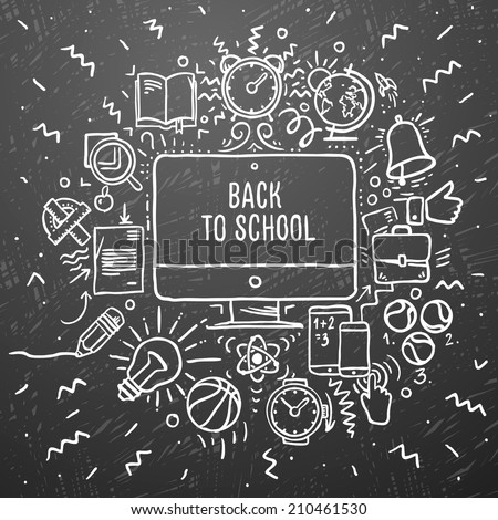 Freehand chalk drawing school items on the black chalkboard. Back to School, vector illustration.   - stock vector