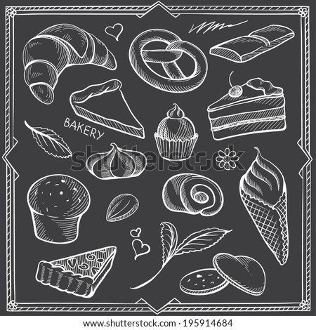 Freehand Contours of Sweets and Vintage Decor on Black Background - stock vector