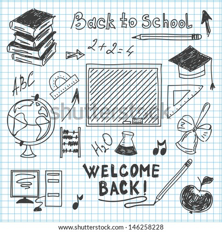 freehand drawing back to school in a notebook - stock vector