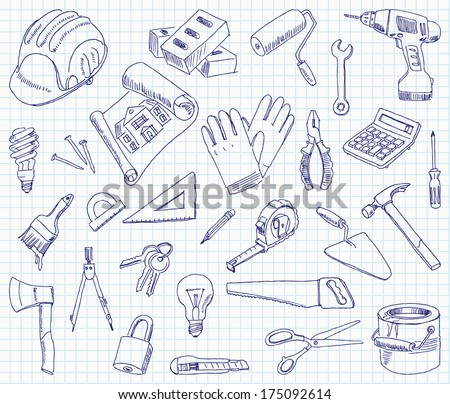 Freehand drawing building materials on a sheet of exercise book. Vector illustration. Set - stock vector