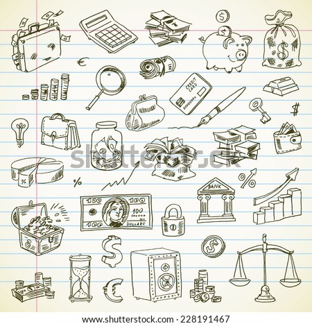 Freehand drawing Business and Finance items on a sheet of exercise book. Vector illustration. Set
