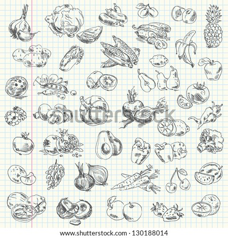 Freehand drawing fruit and vegetables on a sheet of exercise book. Vector illustration. Set - stock vector