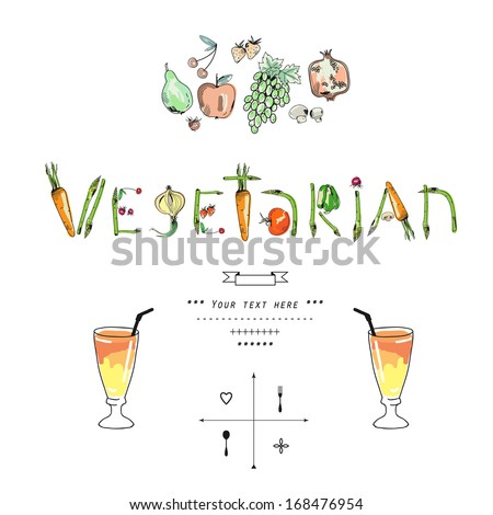 Freehand drawing fruit and vegetables on a white background. Vector illustration. - stock vector