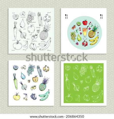 Freehand drawing fruit and vegetables. Set of four cards. Vector illustration. - stock vector
