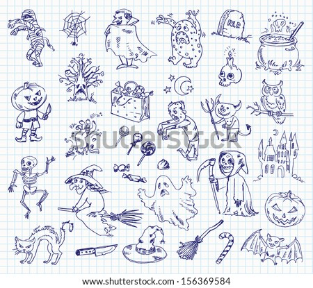 Freehand drawing halloween on a sheet of exercise book. Vector illustration. Set - stock vector