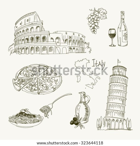 Freehand drawing Italy items on a sheet of exercise book. Leaning Tower of Pisa. Coliseum. Vector illustration. Isolated on white background