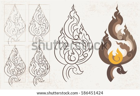 Freehand drawing Lion Tail  Thai arts pattern  design and page decoration - lots of useful elements to embellish your layout, Vector illustrator - stock vector