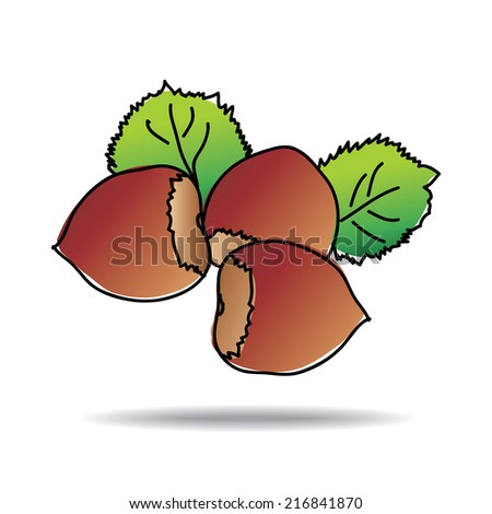 Freehand drawing nut icon - vector eps 10 illustration - stock vector