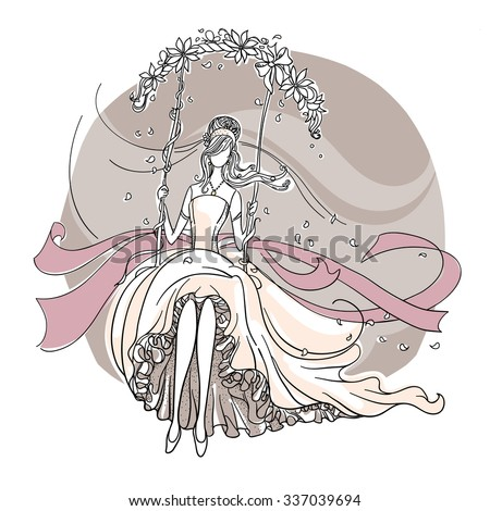 Freehand drawing of a Beautiful Bride on a swing. - stock vector