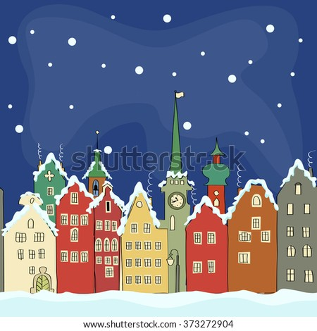 freehand drawing of old colourful buildings in winter Amsterdam