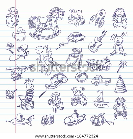 Freehand drawing retro toys items on a sheet of exercise book. Vector illustration. Set - stock vector