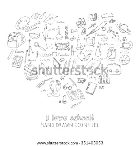 Freehand drawing school items, Back to School, I love school Hand drawing set of school supplies sketchy doodles vector illustration, doodles, science, physics, calculus, oral exam, history, biology