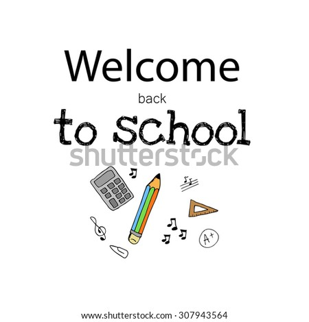 Freehand drawing school items. Back to School. Vector illustration. Set