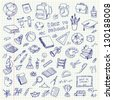 Freehand drawing school items on a sheet of exercise book. Back to School. Vector illustration. Set - stock