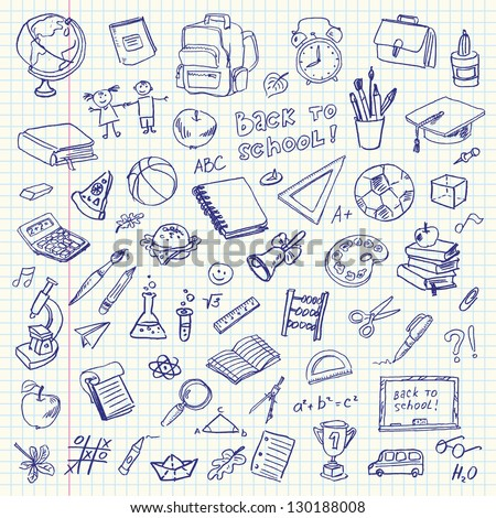 Freehand drawing school items on a sheet of exercise book. Back to School. Vector illustration. Set - stock vector
