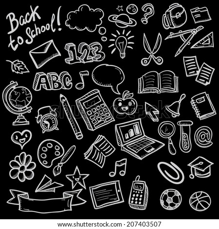 Freehand drawing school items on a sheet of exercise book. Back to School. Vector illustration. Set