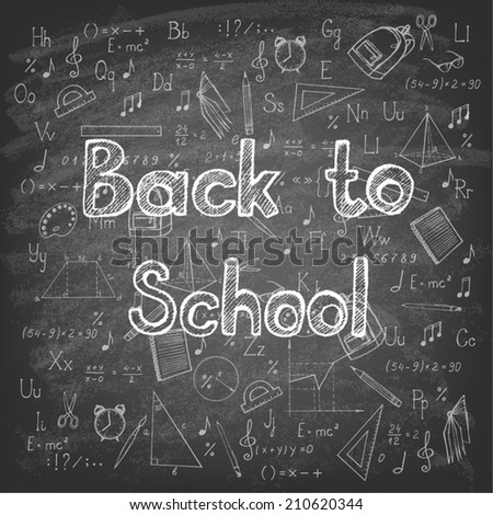 Freehand drawing school items on blackboard. Back to School. Vector illustration.  - stock vector