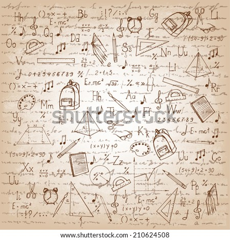 Freehand drawing school items. Vector illustration.  - stock vector