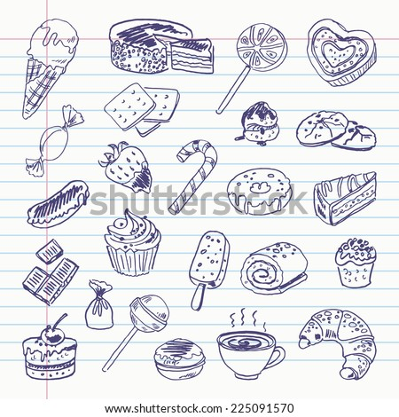 Freehand drawing sweetness items on a sheet of exercise book. Vector illustration. Set - stock vector