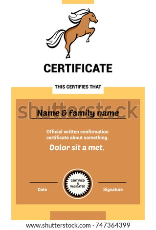 Freehand drawing template design certificate hobby stock vector freehand drawing template design certificate for hobby club with riding training horse sketch vector illustration jump yadclub Images