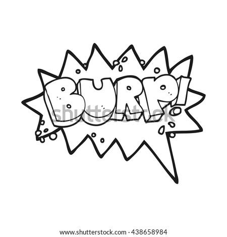 freehand drawn black and white cartoon burp symbol - stock vector
